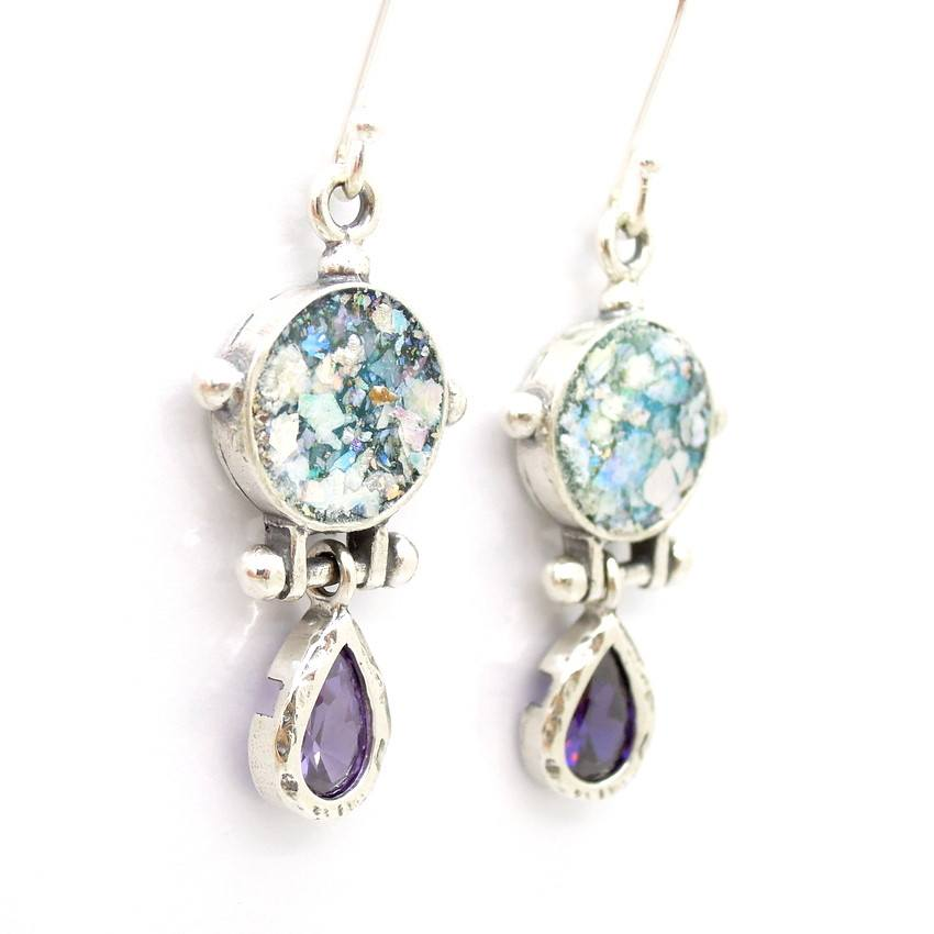 Earrings - Roman Glass And Purple Zircon Earrings - Drop Shape Style