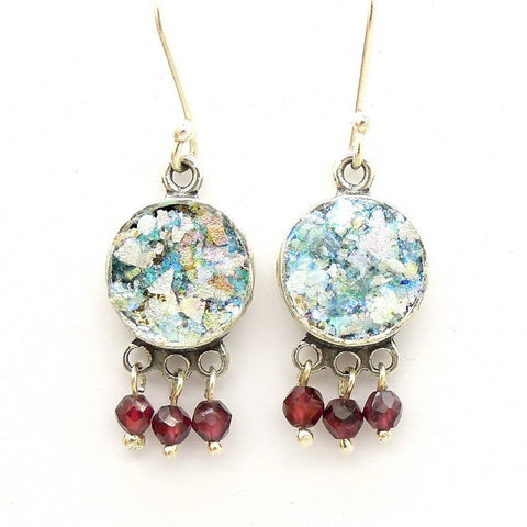 Earrings - Roman Glass And Silver Earrings - Garnet Gemstone Unique Design