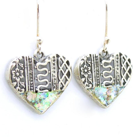 Earrings - Roman Glass And Silver Earrings - Heart Shaped