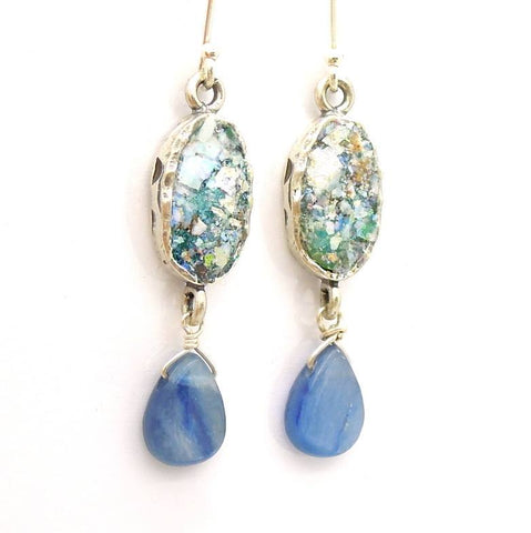 Earrings - Roman Glass And Silver Earrings - Kyanite Gemstone Unique Design