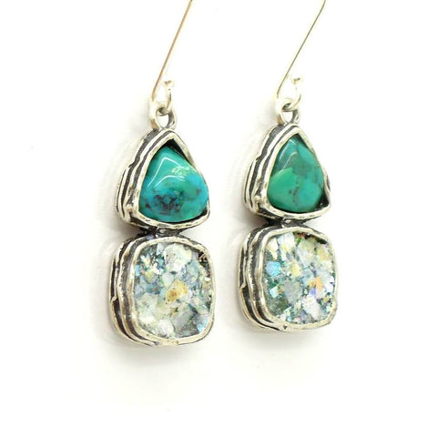 Earrings - Roman Glass And Silver Earrings - Turquoise And Silver Unique Design