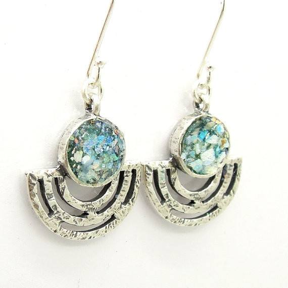 Earrings - Roman Glass And Silver Earrings - Unique Design