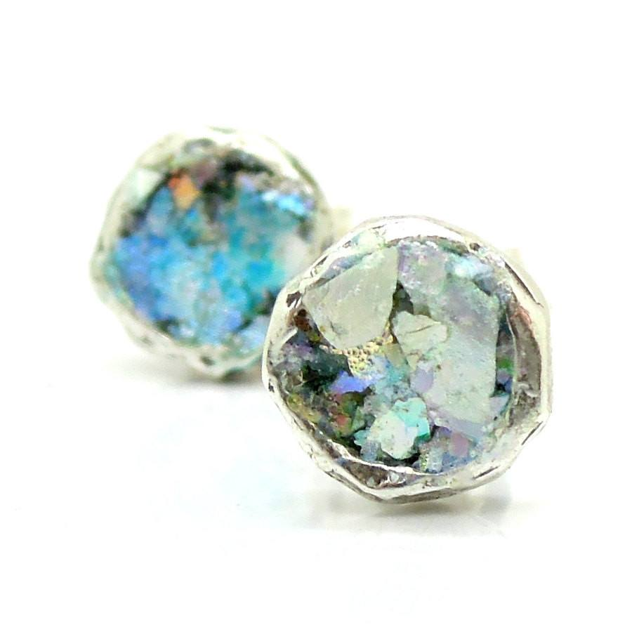 Earrings - Roman Glass And Silver Stud Earrings - Round Version