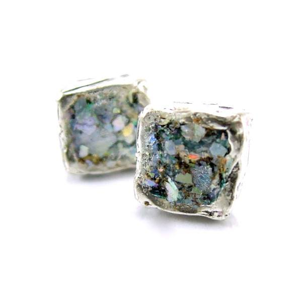 Earrings - Roman Glass And Silver Stud Earrings - Square Version