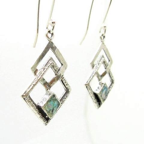 Earrings - Roman Glass Earrings Set In Sterling Silver 3 Square Shapes