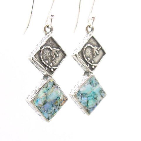 Earrings - Roman Glass Earrings With A Flower Scroll On Sterling Silver