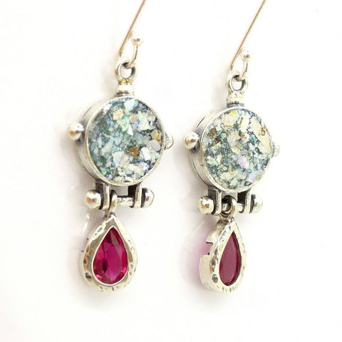 Earrings - Roman Glass & Pink Zircon Earrings