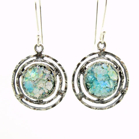 Earrings - Round Dangle Earrings With Roman Glass Set In Sterling Silver
