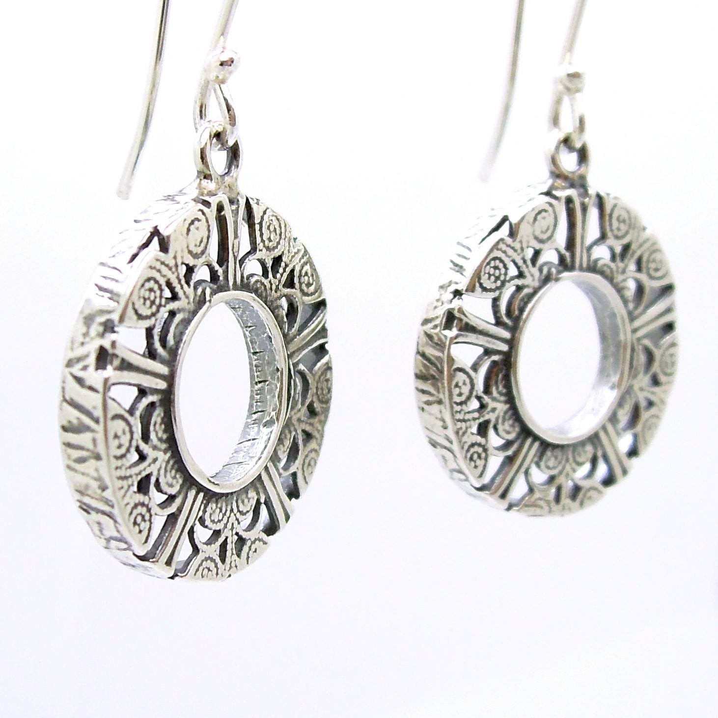 earrings set silver and necklace filigree bib rain