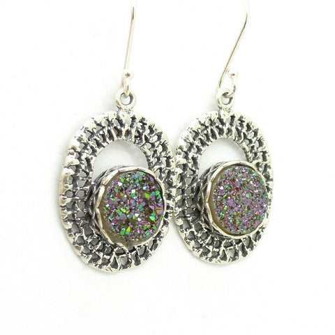 Earrings - Round Green Druzy Agate Set In Oval Silver Earrings