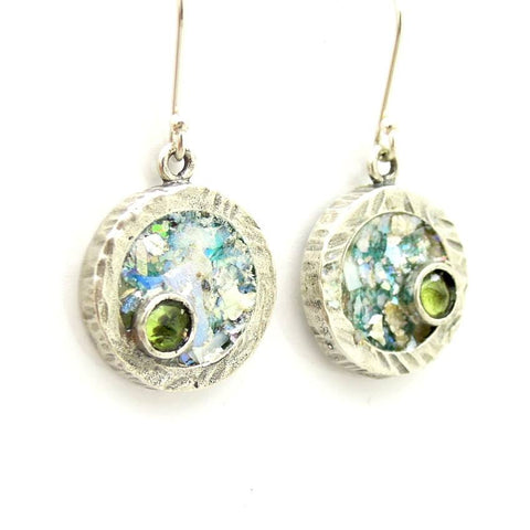 Earrings - Round Silver And Roman Glass Earrings With A Sweet Peridot