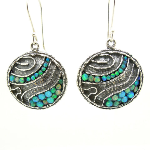 Earrings - Round Silver Earrings With Mosaic Opal Landscape Pattern