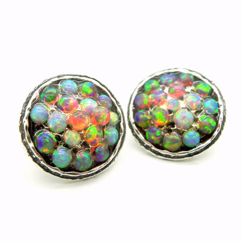 Earrings - Round Silver Post Earrings With Mosaic Fire & Blue Opal