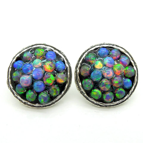 Earrings - Round Stud Earrings With Mosaic Opal Set In Silver