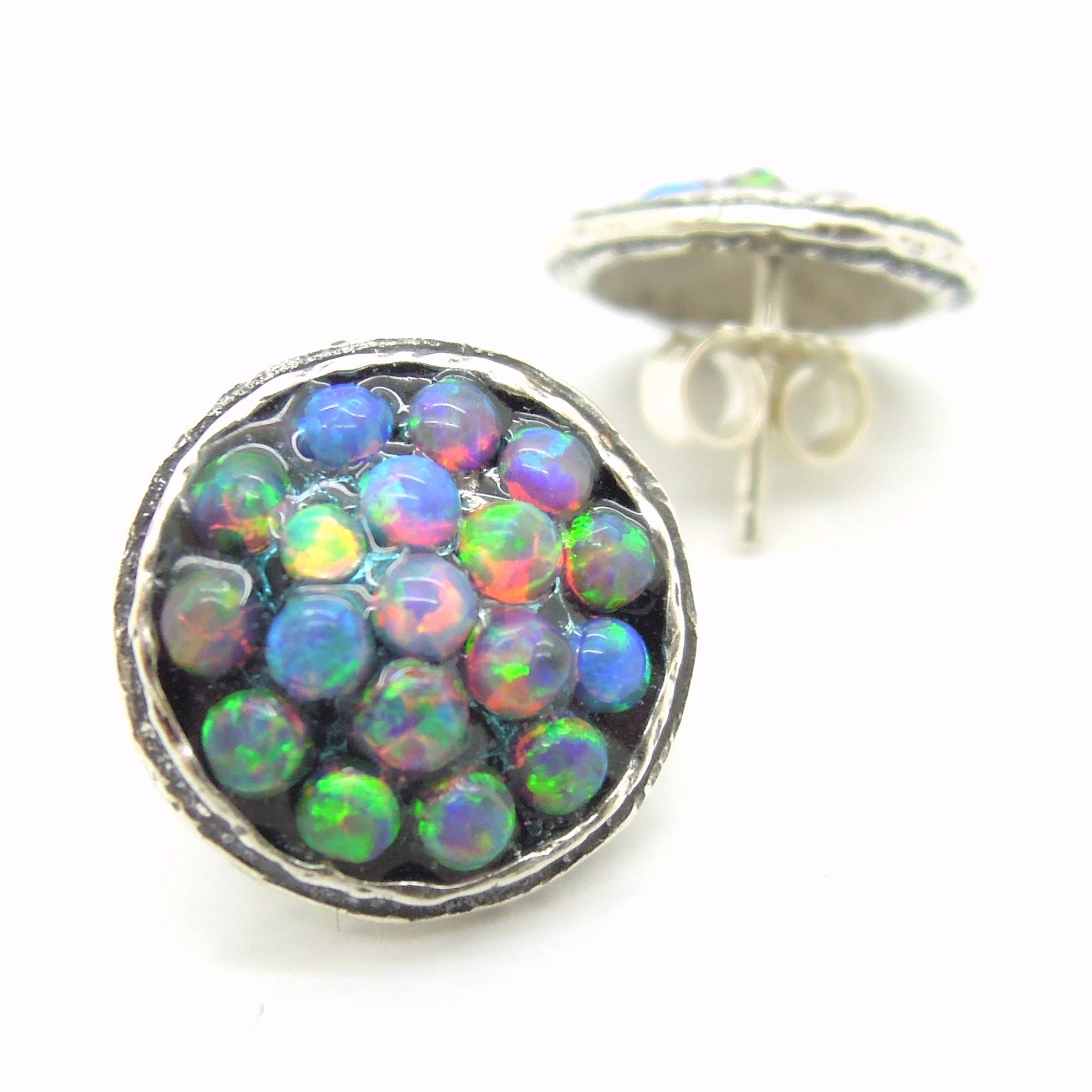 stud round opal pin earrings large blue