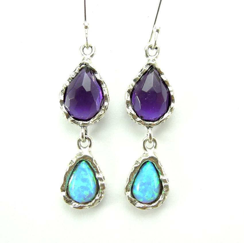 Earrings - Silver Amethyst And Opal Earrings - Chandelier Unique Design