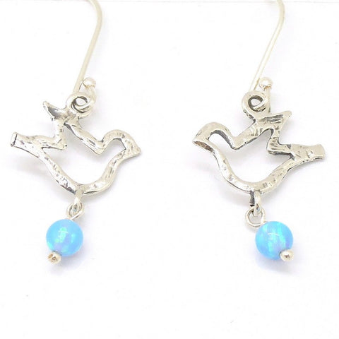 Earrings - Silver And Opal Gemstone Earrings- Birds Design