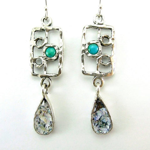 Earrings - Silver And Turquoise Drop Shape Roman Glass Earrings