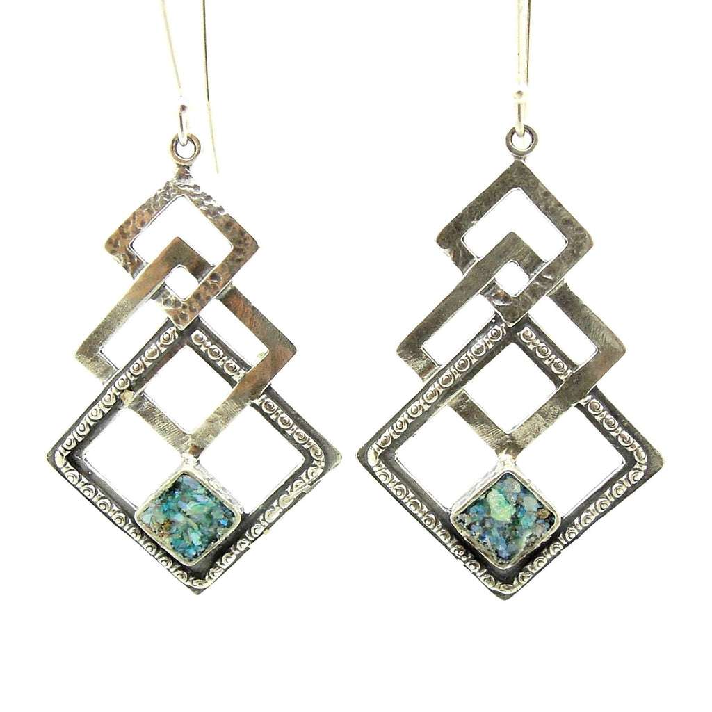 Earrings - Silver Dangle Earring With 3 Squares & Roman Glass