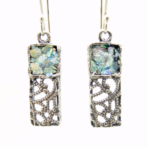 Earrings - Silver Dangle Earrings, Filigree Lace Design With Roman Glass
