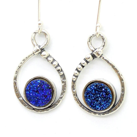 Earrings - Silver Earrings With Blue Druzy Agate