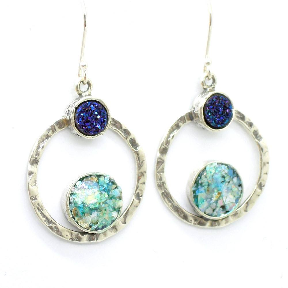 Earrings - Silver Earrings With Blue Druzy Agate & Roman Glass