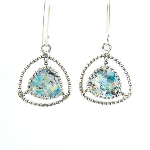 Earrings - Silver Earrings With Roman Glass And Circles