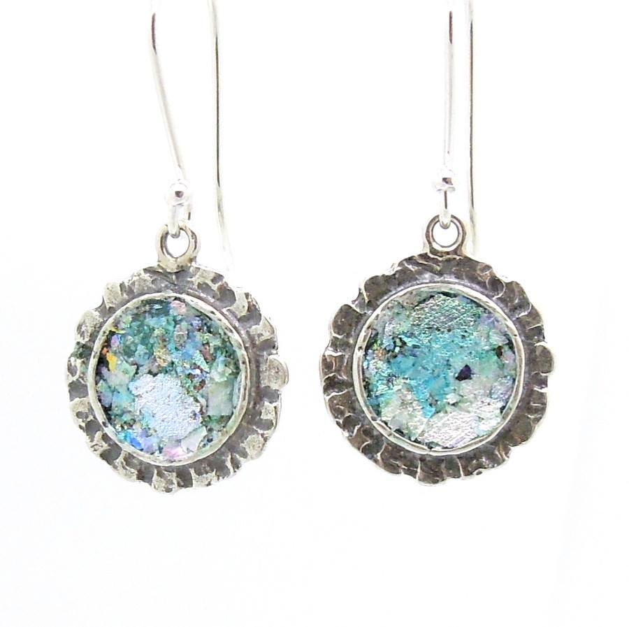 Earrings - Silver Earrings With Roman Glass Hammered Edges