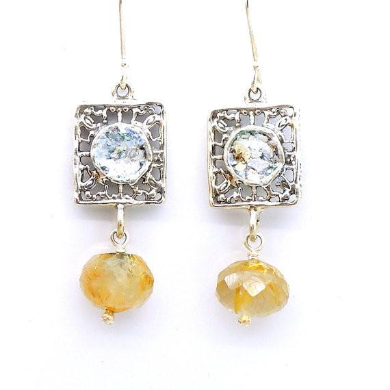 Earrings - Silver Earrings With Roman Glass & Rutile Quartz