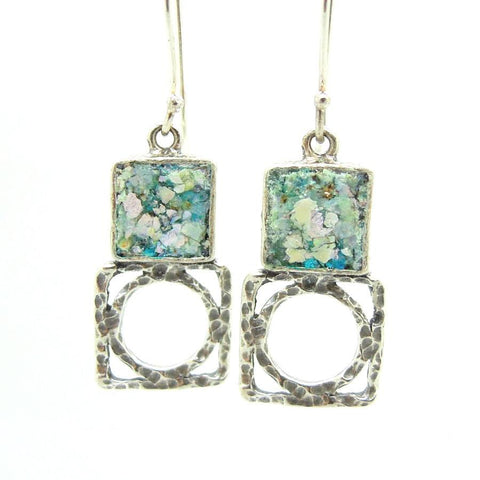 Earrings - Silver Earrings With Roman Glass, Square & Round