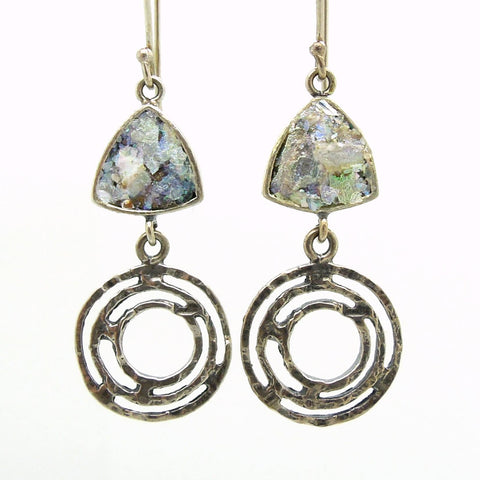 Earrings - Silver Earrings With Roman Glass Triangle And Circles
