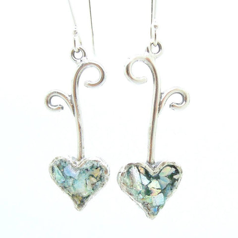 Earrings - Silver Heart Shaped Dangle Earrings With Roman Glass