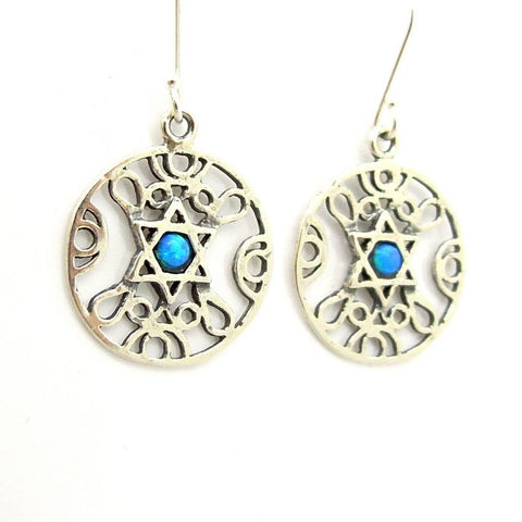 Earrings - Silver Pendant With Star Of David And An Opal At The Center