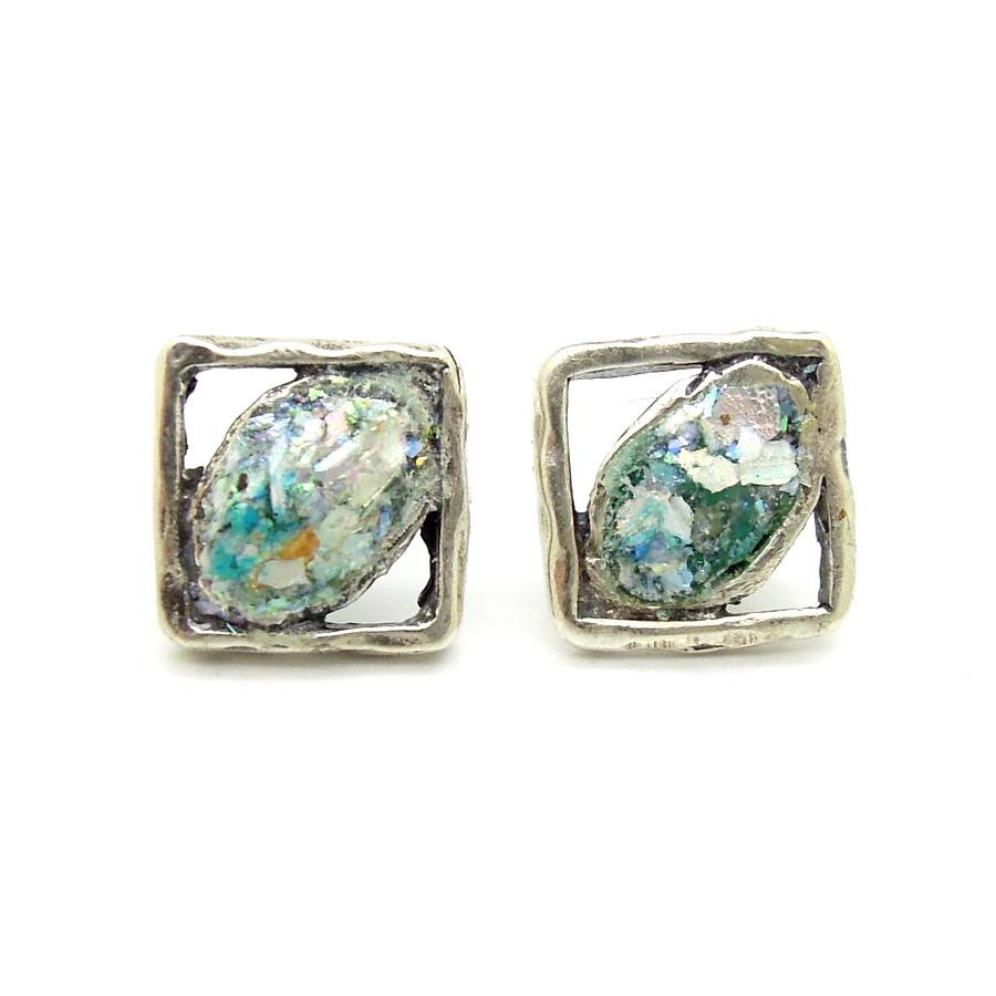 Earrings - Small Silver Square Stud Earrings With Roman Glass