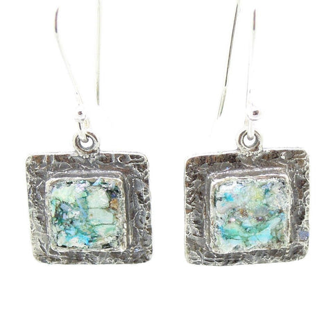 Earrings - Square Silver Earrings With Roman Glass