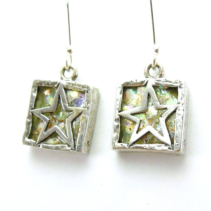 Earrings - Star Shaped Silver And Roman Glass Square Earrings