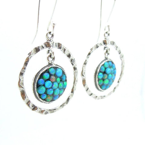 Earrings - Sterling Silver Dangle Earrings With Mosaic Opal Stones