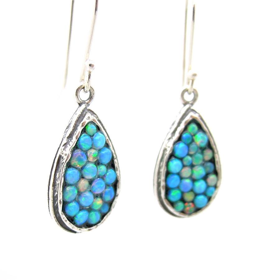 Earrings - Sterling Silver Earrings With Mosaic Opal Stones Drop Shape