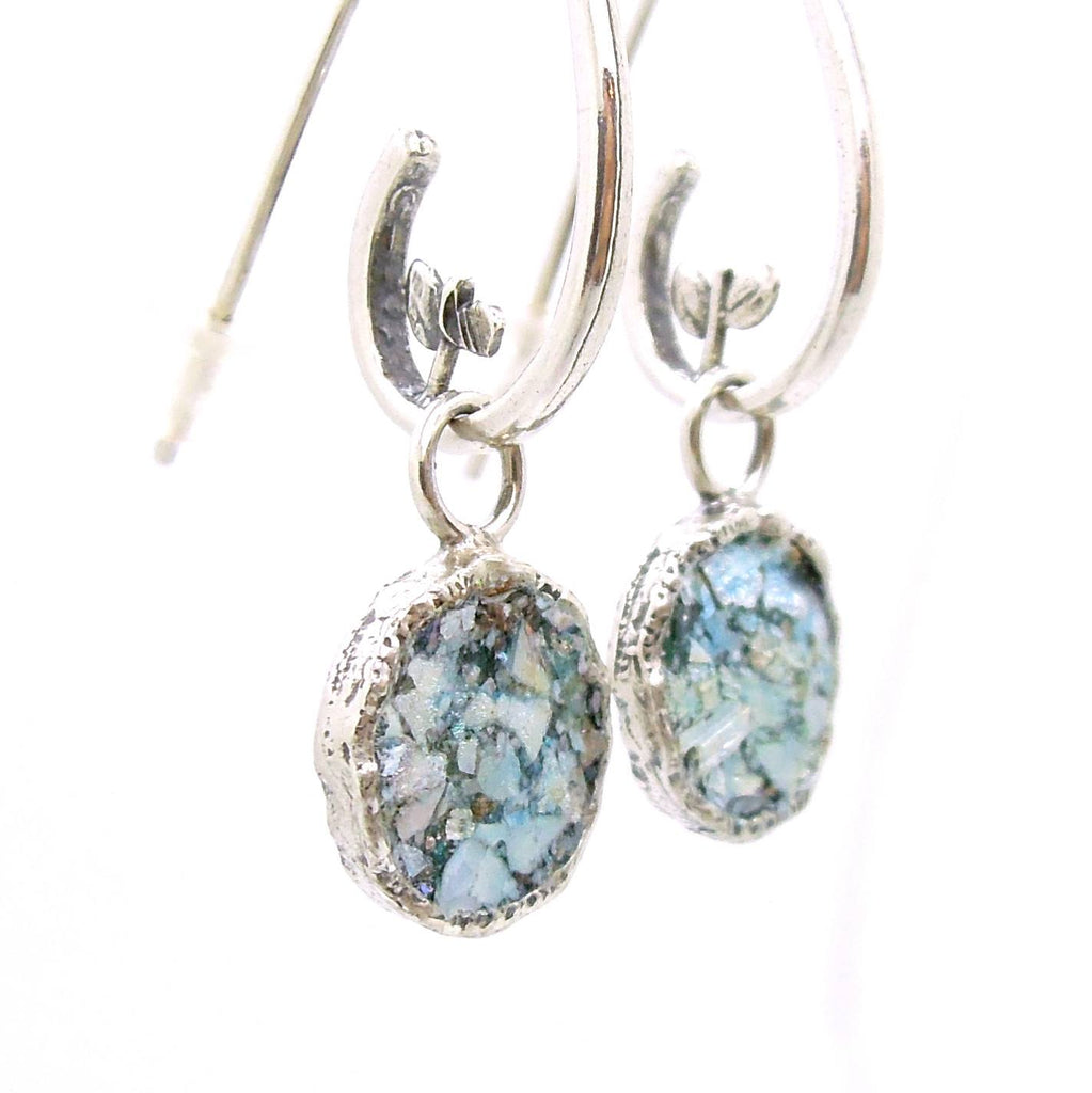 Earrings - Swirl Shaped Silver Dangle Earring With Roman Glass