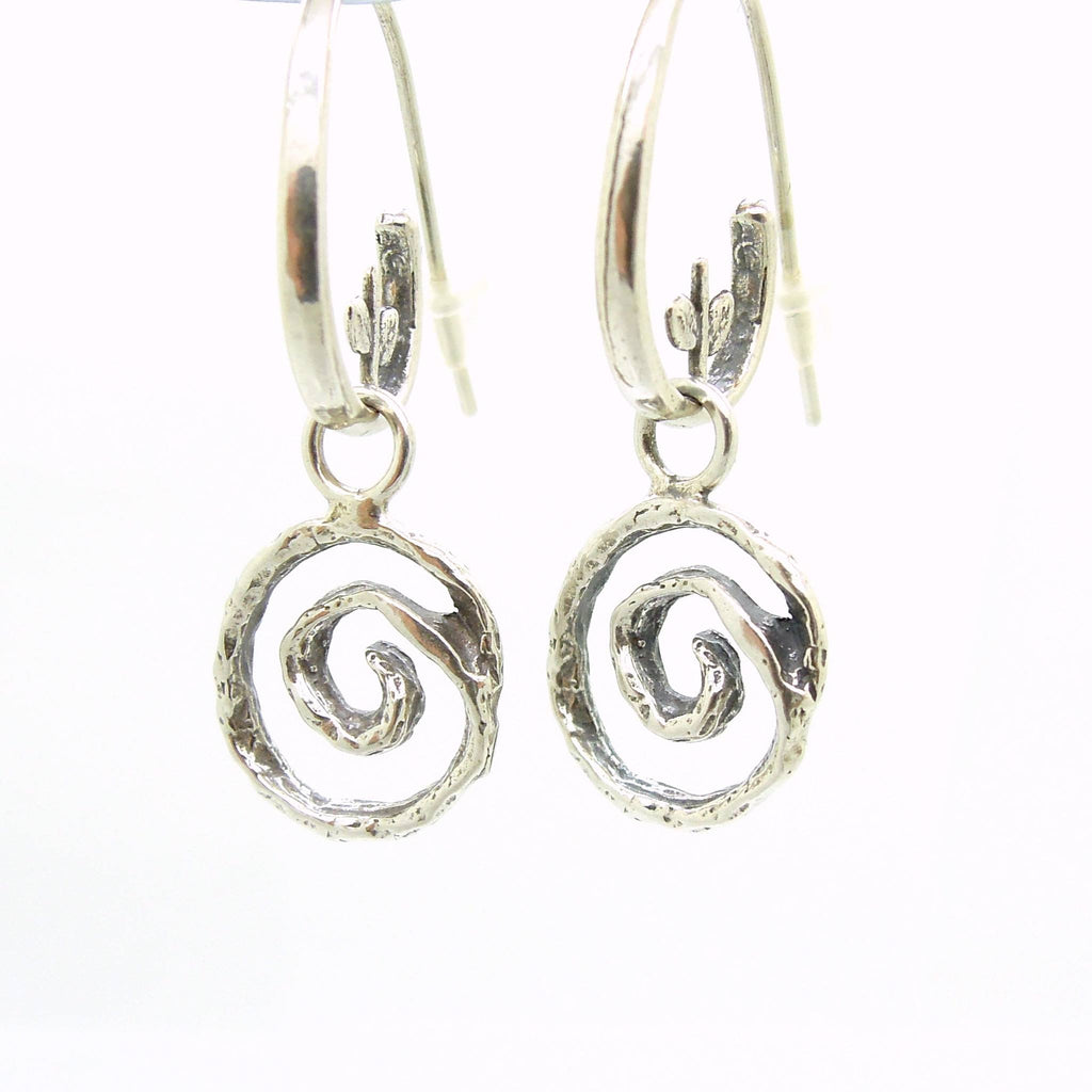 Earrings - Swirl Shaped Sterling Silver Dangle Earring