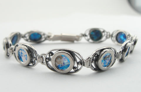 Silver Bracelet, Roman Glass, Handmade, Gift, Izralien Jewelry, Sterling Silver 925 Bangle, Round Bracelet, Antigue Glass (er304