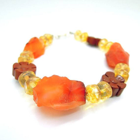 Gemstone Bead Necklace - Jasper, Glass Beads And Carneol Gemstone Bead Bracelet