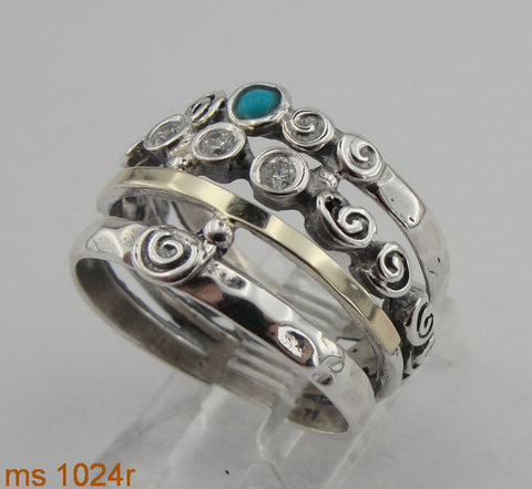 Unique Ring with Opal and CZ, 925 Sterling Silver & 9K Yellow Gold Ring, Big Ring with Zircon, Israeli Jewelry, Gift for Her, Gemstone (ms 1024r)
