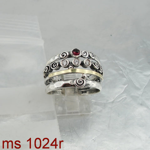 Amazing Garnet CZ Ring, 925 Sterling Silver & 9K Yellow Gold Ring, Red Garnet and Zircon Ring, Israeli Jewelry, Womans Gift, Handmade, Gemstone (ms 1024r)