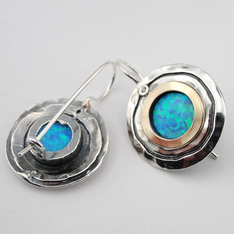 Beautiful Round Earrings with Opal, 925 Sterling Silver & 9k Yellow Gold, Israeli Jewelry, Handmade, Silver Earrings, Womans Gift, Gemstone Earrings (ms 1105e)