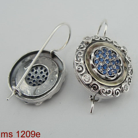 925 Silver and Yellow Gold earring, Blue Topaz Zircon CZ Earring, Israel Jewelry, Handcrafted, Gemstone, Gift (ms 1209etz)