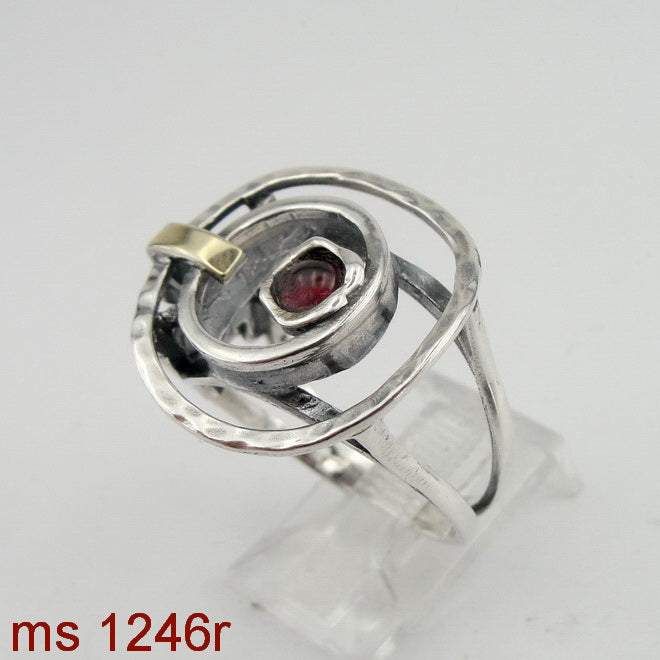 Fine Garnet Ring, 925 Sterling Silver & 9K Yellow Gold Ring, Round Red Garnet Ring, Israeli Jewelry, Gift for Her, Gemstone (ms 1246r)