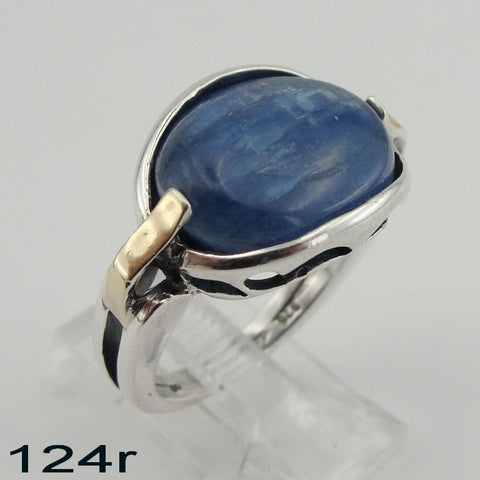 Fine Ring with Blue Kyanite, 925 Sterling Silver & 9K Yellow Gold Ring, Oval Ring, Israeli Jewelry, Gift for Her, Gemstone Jewelry (ms 124r)