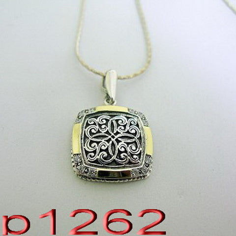Filigree CZ Pendant, 925 Sterling Silver, CZ Necklace, Handmade, 9k Yellow Gold Pendant, Israeli Jewelry, Gift, Gemstone (ms 1262p)