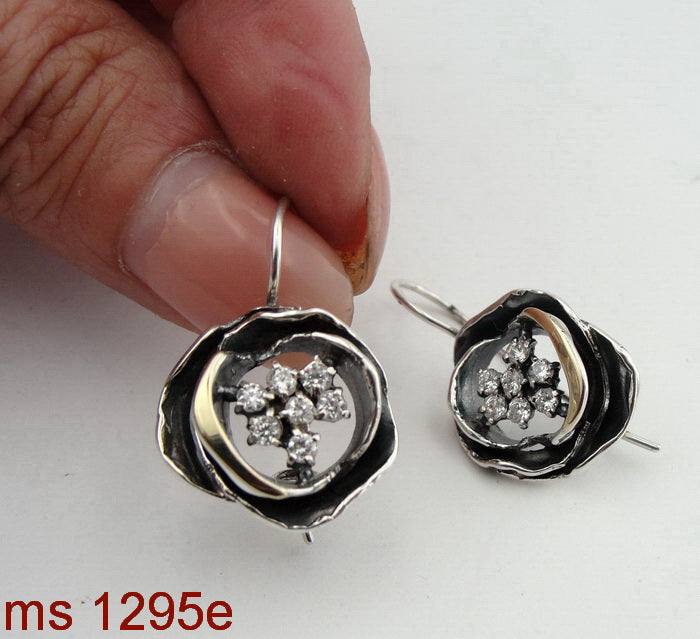 Gentle Earrings, 925 Sterling Silver and 9k Yellow Gold, Zircon CZ Silver Earrings, Hadas Jewelry, Handcrafted, Israeli Jewelry, Gemstone, Womans Gift (ms 1295e)